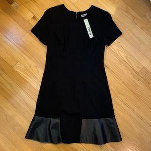 DKNY Black Flare Dress W/ Leather Detail